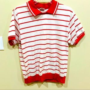 Vintage Picket and Post White Polo w Red stripes L